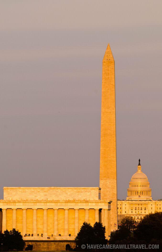 Washington DC Monuments in golden setting sun