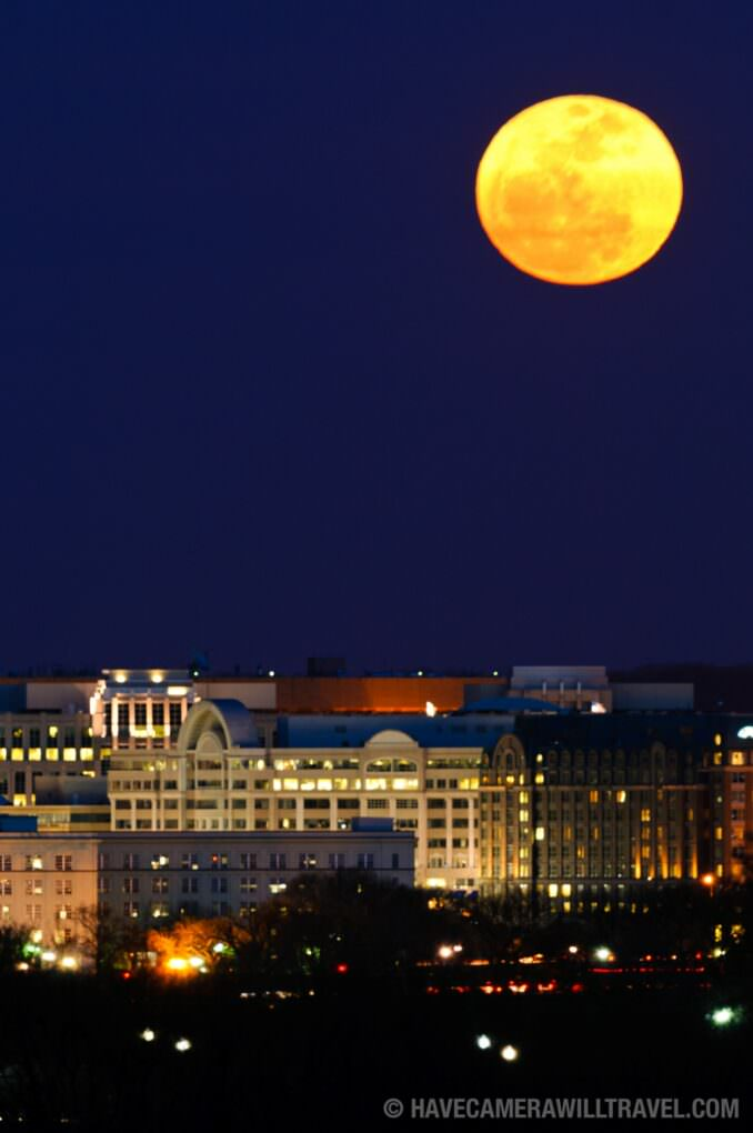 Washington DC Super Moon rising over the city - portrait