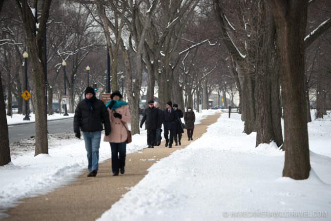 Washington DC Tourists in the Snow