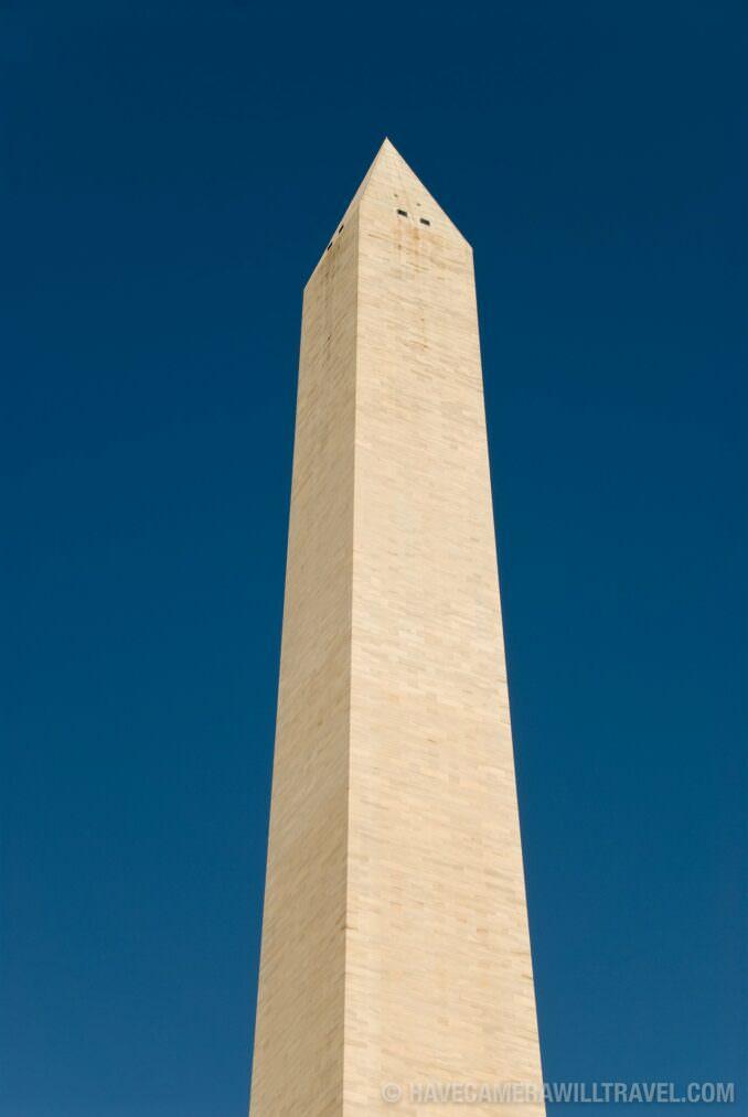 Washington Monument against a clear blue sky.