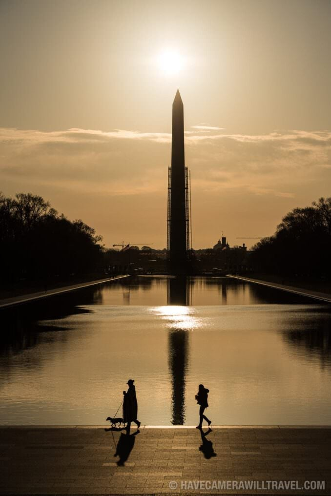 Washington Monument Silhouette Walkers Shadows