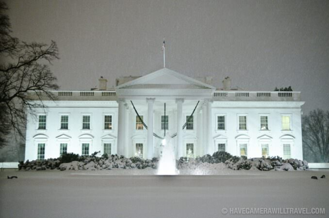 White House in snowstorm at night