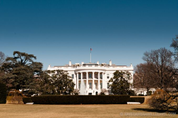 White House in Washington DC with blue sky