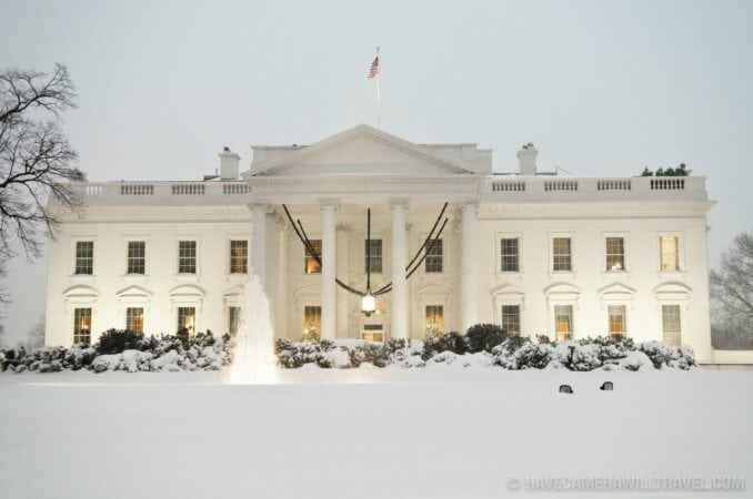White House with snow in the evening