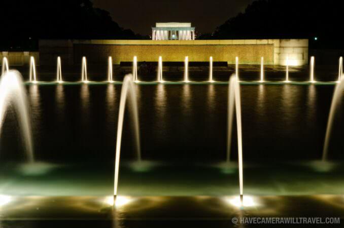 World War II Memorial and Lincoln Memorial at night