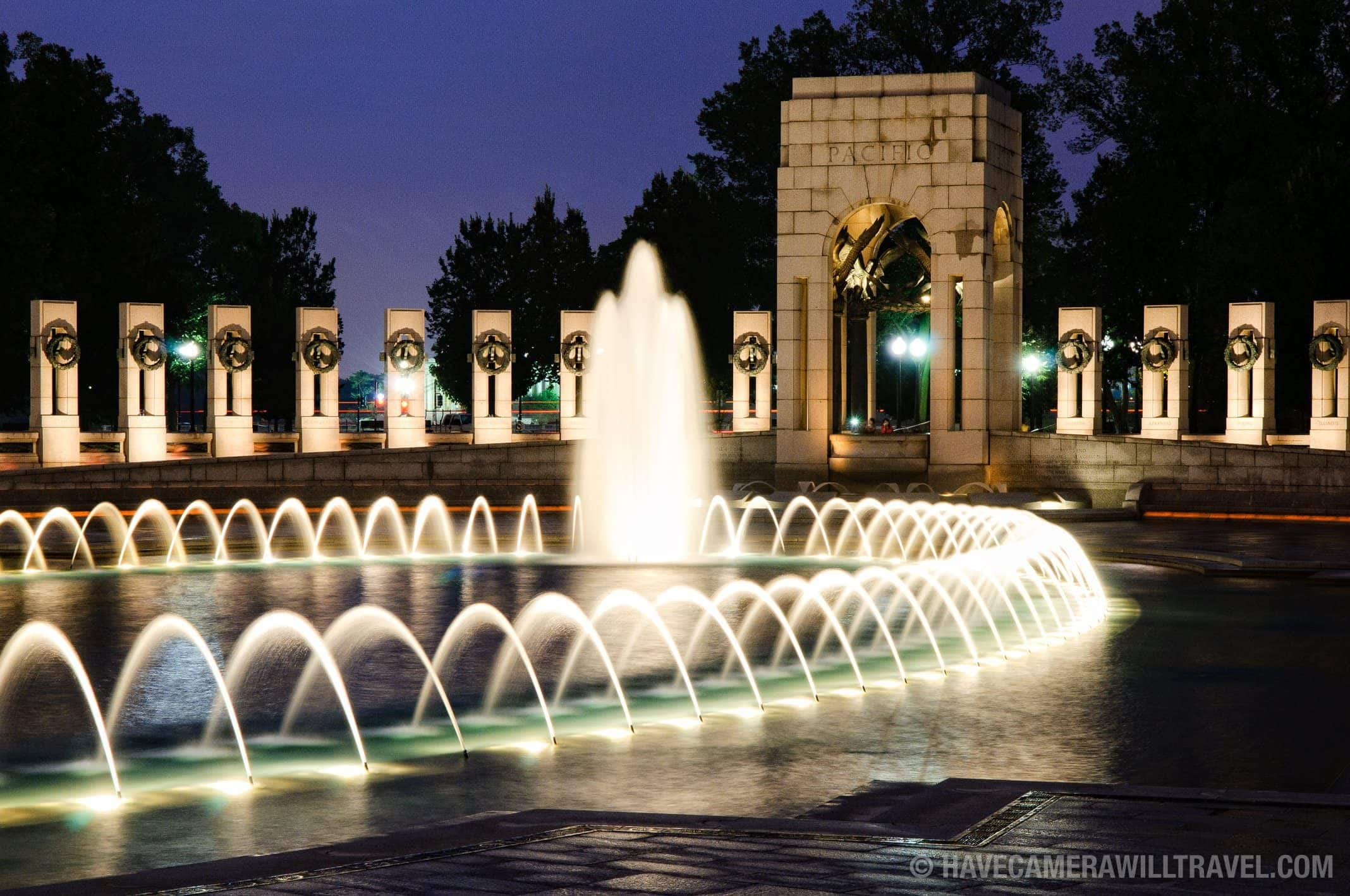 World War Two Memorial fountains at night