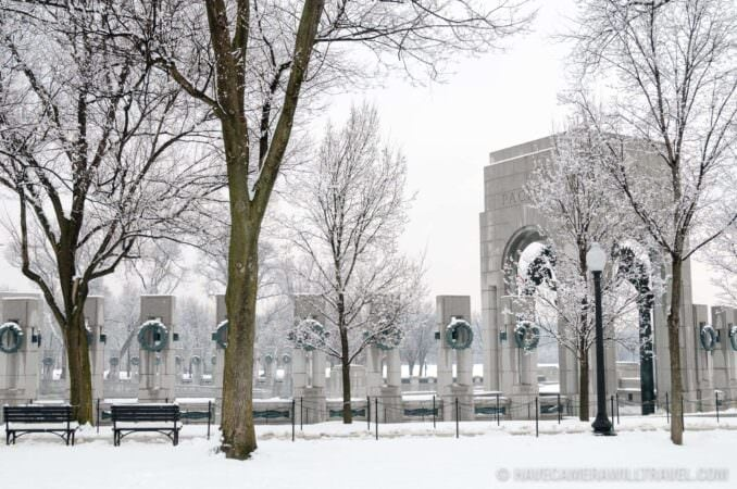 World War Two Memorial in the Snow
