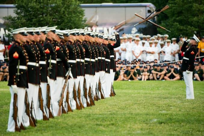 Silent Drill Platoon at the Sunset Parade at the Iwo Jima Memorial