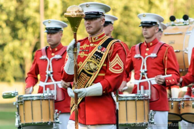 Sunset Parade at the Iwo Jima Memorial Commandant's Own Marching Band