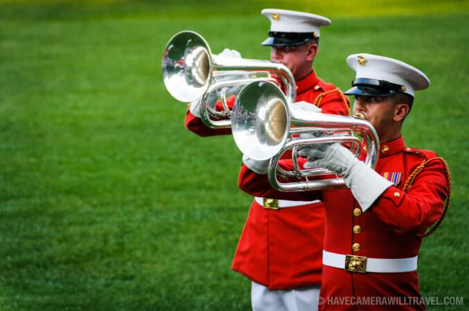 US Marine Drum and Bugle Corps at the Sunset Parade