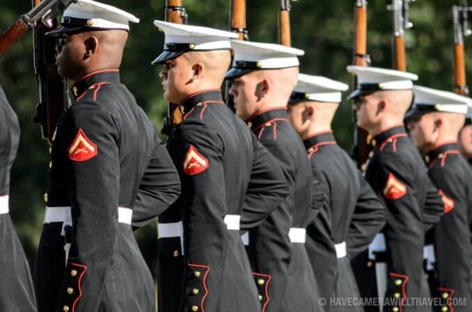 USMC Silent Drill Team at the Sunset Parade at the Iwo Jima Memorial