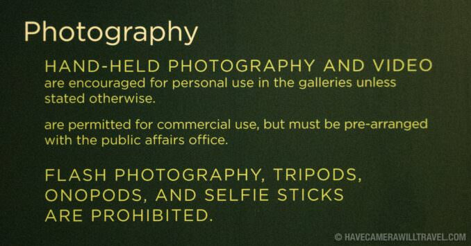 Smithsonian National Museum of African Art Photography Rules